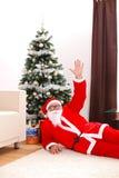 圣诞节放置圣诞老人结构树的克劳斯&# 免版税库存照片