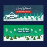 圣诞节斯诺伊风景横幅 免版税库存图片