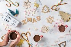 圣诞节新年与欢乐装饰的假日背景 图库摄影