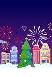 圣诞节新年假日贺卡 传染媒介平的例证 狂欢节,节日横幅,海报背景设计 库存例证