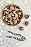 圣诞节新年度 核桃 免版税库存图片