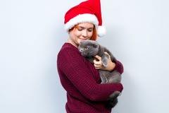 圣诞节新年愉快的妇女在有猫的圣诞老人帽子在ha 免版税库存照片