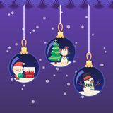 圣诞节新年球 有礼物的圣诞老人在屋顶 逗人喜爱的企鹅装饰树,在多雪的夜传染媒介colorfu的雪人 免版税图库摄影