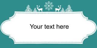 圣诞节新年网横幅海报 白色剪影鹿冷杉木雪剥落 3d美好的尺寸图框架例证三非常葡萄酒 复制文本的空间 皇族释放例证