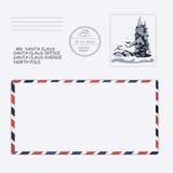 圣诞节新年度 克劳斯信函圣诞老人 模板,信封,邮票 向量 免版税库存照片
