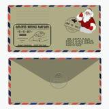 圣诞节新年度 克劳斯信函圣诞老人 模板,信封,邮票 向量 图库摄影