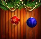 圣诞节新年设计木背景 免版税库存照片
