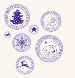 圣诞节新年邮票 库存例证