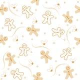 圣诞节无缝姜饼的模式 库存照片