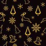 圣诞节无缝的样式、圣诞树金黄冲程,鹿、圣诞节铃声、摇马和雪花在黑backgrou 皇族释放例证