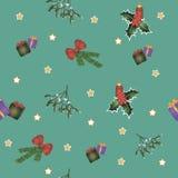圣诞节无缝的样式有绿色背景 库存例证