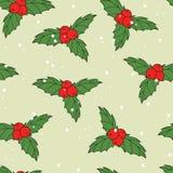 圣诞节无缝的样式用冬青属莓果和叶子 免版税库存图片