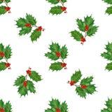 圣诞节无缝的样式用霍莉莓果和叶子在水彩在白色背景 免版税库存照片