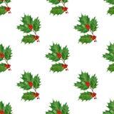 圣诞节无缝的样式用霍莉莓果和叶子在水彩 免版税图库摄影