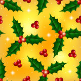 圣诞节无缝的样式用霍莉莓果 库存图片
