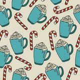 圣诞节无缝的样式用hor巧克力和棒棒糖 库存例证