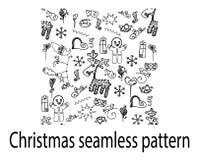 圣诞节无缝的样式鹿乱画曲奇饼心脏礼物线 免版税库存图片