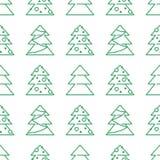 圣诞节无缝的样式- Xmas树 免版税库存图片