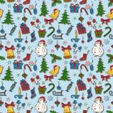 圣诞节无缝的背景 免版税库存图片