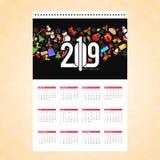 圣诞节日历与创造性的背景传染媒介的设计卡片 向量例证