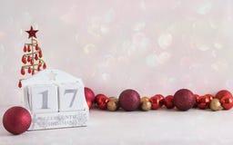 圣诞节日历-直到圣诞节的17睡眠 免版税库存照片