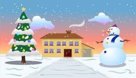 圣诞节早晨室外视图 库存照片