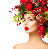 圣诞节时装模特儿妇女 库存图片