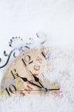 圣诞节时钟时间 免版税库存图片