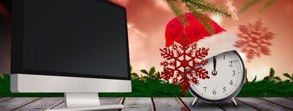 圣诞节时钟的综合图象 库存图片