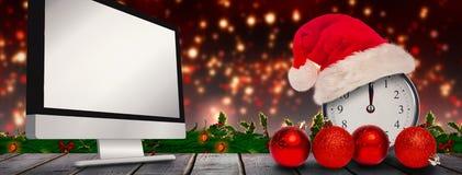 圣诞节时钟的综合图象 免版税图库摄影
