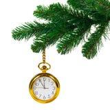 圣诞节时钟结构树 图库摄影