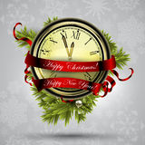 圣诞节时钟 图库摄影