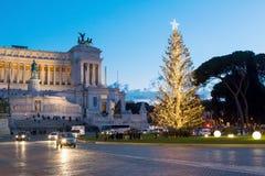 圣诞节时间在罗马,广场Venezia 免版税库存照片