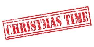 圣诞节时间红色邮票 免版税库存照片