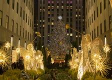 圣诞节时间在纽约-圣诞树Rockfeller中心 图库摄影