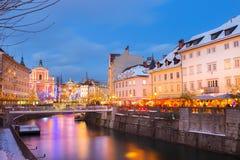 圣诞节时间的卢布尔雅那 斯洛文尼亚,欧洲 图库摄影