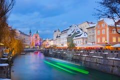 圣诞节时间的卢布尔雅那 斯洛文尼亚,欧洲 库存照片