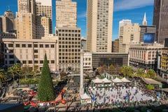 圣诞节时间的联合广场,旧金山 库存照片