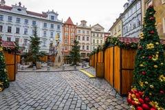 圣诞节时间的,捷克捷克克鲁姆洛夫广场 免版税库存图片