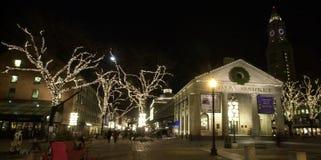 圣诞节时间的Faneuil霍尔 图库摄影