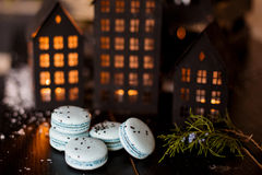 圣诞节时间,蛋白杏仁饼干 免版税库存照片