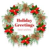 圣诞节明亮地上色了金节假日查出的o装饰品pinecones空白字花圈 免版税库存照片