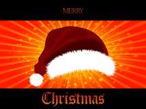 圣诞节星爆炸盘区和3D圣诞老人帽子 免版税库存图片