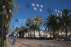 圣诞节显示在太阳海岸的东端的内尔哈在西班牙 免版税库存照片