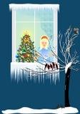 圣诞节晚上窗口外, 免版税库存照片