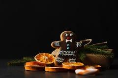 圣诞节曲奇饼、核桃、坚果、杉木锥体和冷杉分支 免版税图库摄影