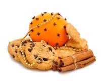 圣诞节曲奇饼、桔子和桂香 库存照片