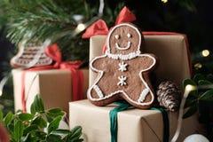 圣诞节曲奇饼人 免版税库存照片