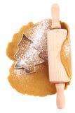 圣诞节曲奇饼切割工姜饼结构树 免版税库存照片