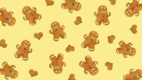 圣诞节曲奇饼和心脏在黄色背景 库存照片